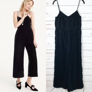 New J. Crew Cropped Velvet Jumpsuit Black 00P
